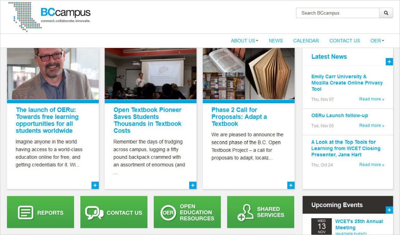 Screenshot of BCcampus.ca from November 2013